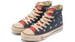 Converse schoenen blauw/rood Amerikaanse vlag lap All Star klassieke Canvas Gympen hoge toppen