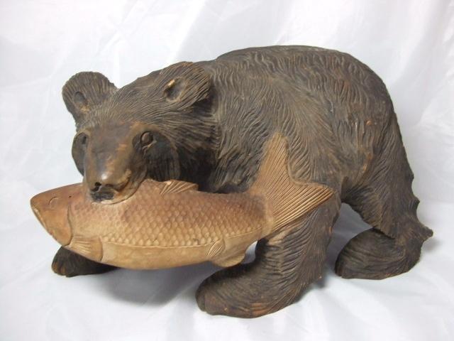 Japanese vintage wood carving ainu bear hokkaido higuma