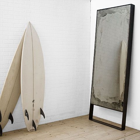 .: Vintage Mirror, Simple Living, Mirror Mirror, Antiques Mirror, Guest Bedrooms, White Boards, Surfing Boards, Floors Mirror, Wall Mirror