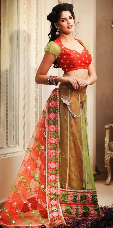 $61.04 Green Net Embroidered and Sequins Work Lehenga Saree 26473