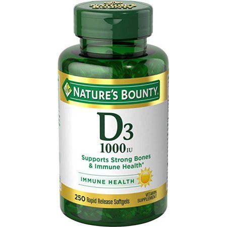 Nature's Bounty Vitamin D-1000 IU, Rapid Release Softgels 250 ea, Multicolor