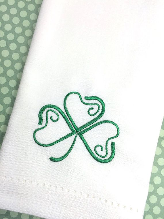 Happy St. Patricks Day Clover Embroidered Cloth Napkins  Set of 4 embroidered napkins  20 x 20 Available Fabrics (see pictures for clarification): 1. Hemstitch Cotton: White, Ivory and Black 2. Matte poly: White, Ivory and Black  Available Design Placement (see pictures for clarification): 1. On The Straight Edge 2. Angled In The Corner 3. Straight In The Corner  **Please provide your thread color choice (e.g. lime green) in an email or message to seller at checkout (see photos for…