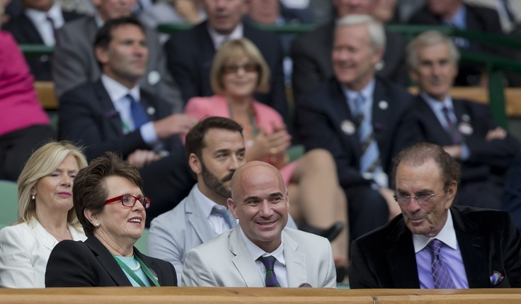 Billie Jean King and Andre Agassi take in the action at the 2012 Wimbledon Championships.