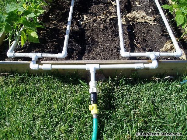 Ingenious watering ideas. I would brace it against the box so water flows up to make a better drain out when off.