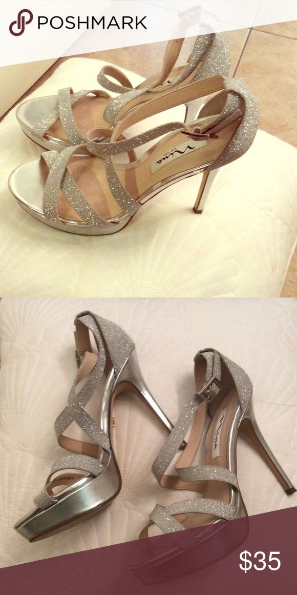 Silver sparkle heel Gorgeous silver sparkle heels. Worn once for just a couple hours. Perfect condition! Nina Shoes Heels