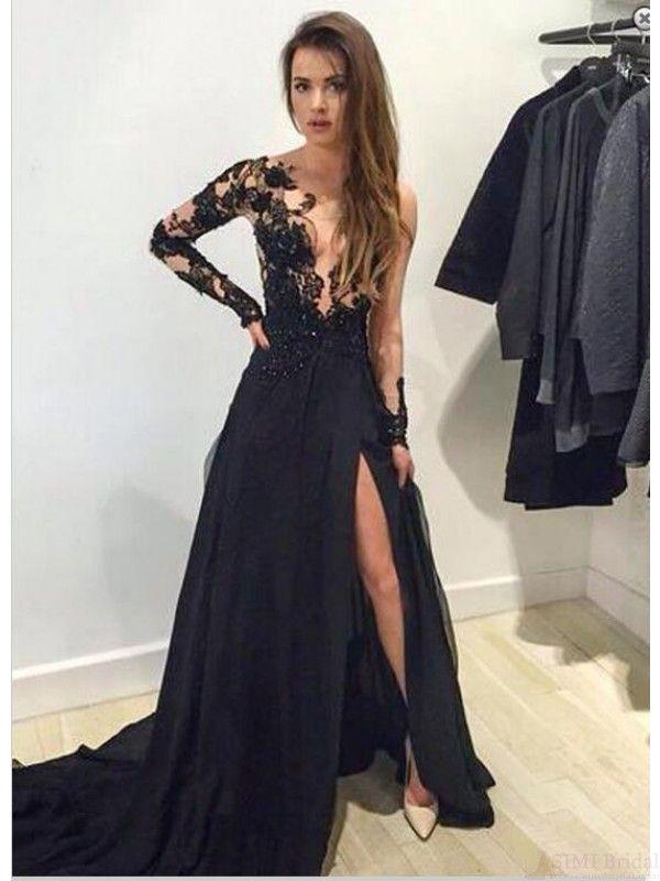 Sexy split prom dresses,black lace prom dress #simibridal