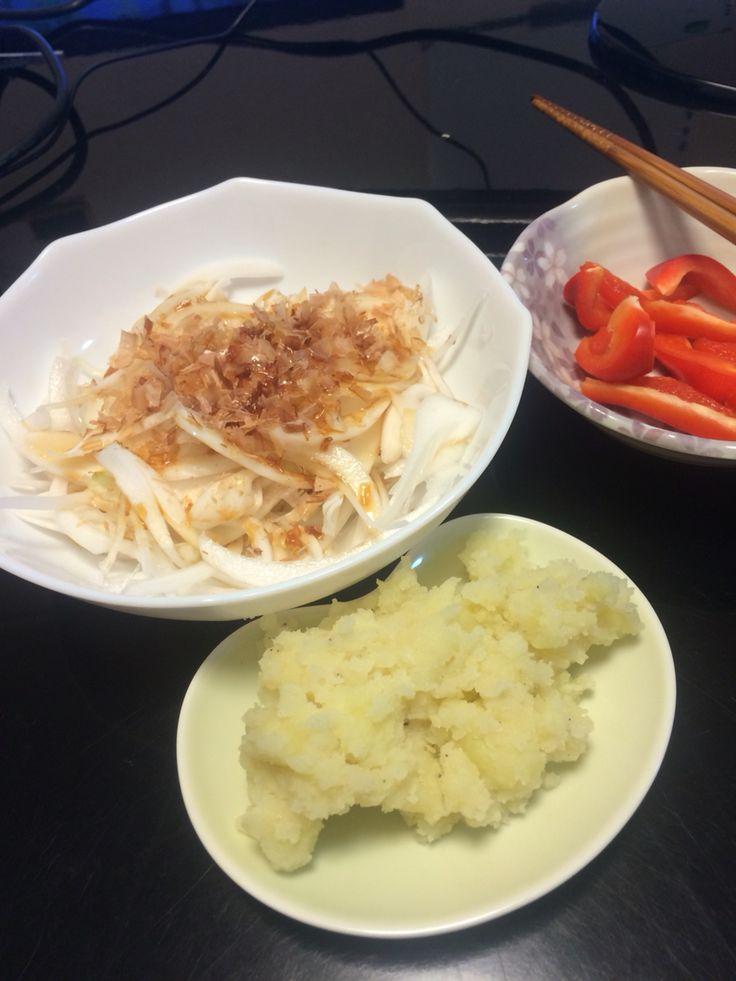 新玉ねぎスライスとポテトサラダ