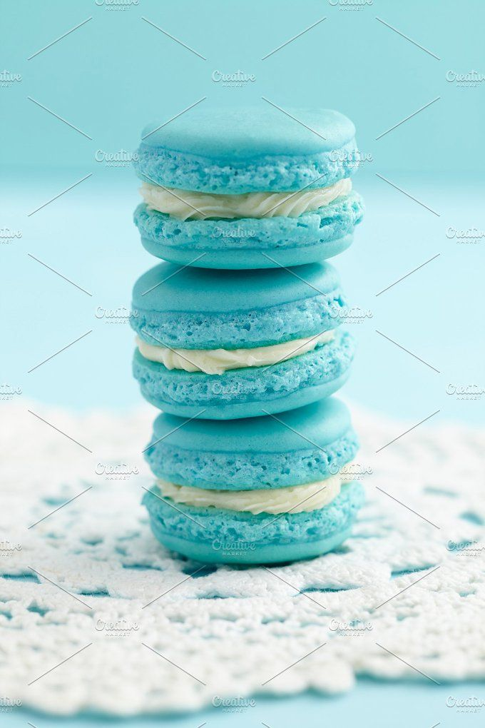 Light blue macarons Photos Light blue and white macarons with buttercream filling by foodphotolove