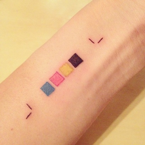 would never get this tattoo but i know my design friends will appreciate #cmyk