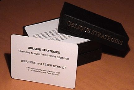 Oblique Strategy cards use phrases to break deadlock or dilemma.  They've been used frequently by musical artists (i.e. Coldplay to write Viva la Vida).