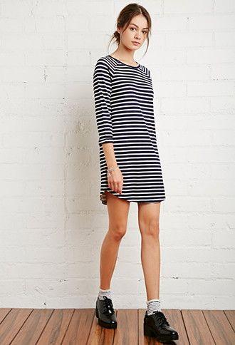 $19.90 Raglan-Sleeved Stripe Dress | Forever 21 - 2000142789