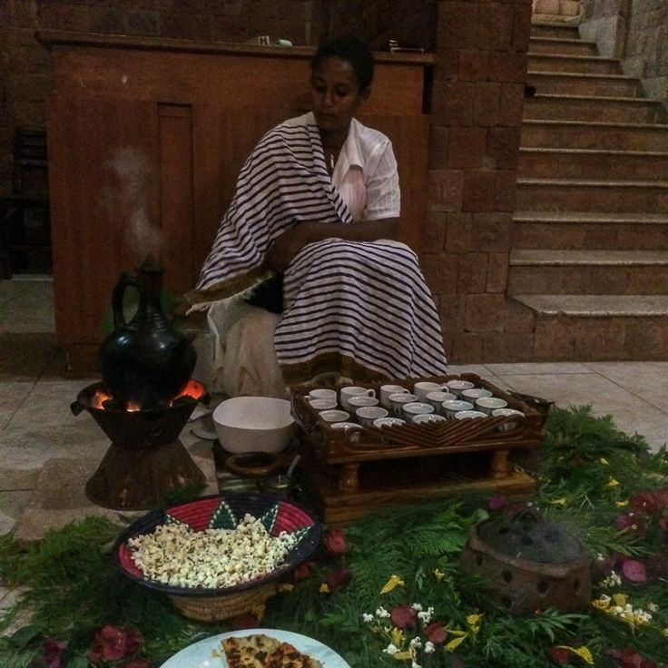 The best cup of coffee we have ever had - a Coffee Ceremony at Mountain View Hotel in Lalibela. Ethiopia.