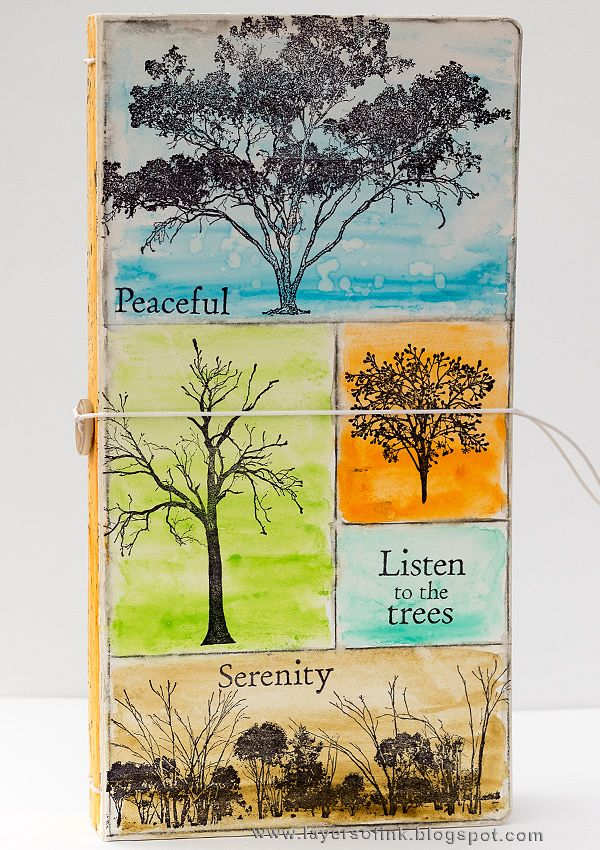 Layers of ink - Tree Sketchbook Journal Tutorial by Anna-Karin. Made with the Sizzix Journal die by Eileen Hull, from her Heartfelt collection. Stamps by Darkroom Door and colored with Ranger Dina Wakley Scribble Sticks.