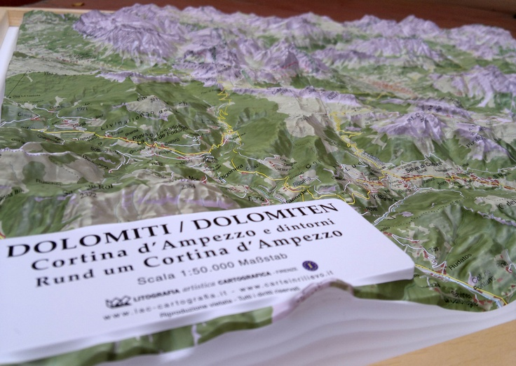Raised Relief Map of Cortina d'Ampezzo. 1:50.000 scale - 66x86x8 cm size.