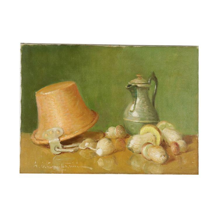 Stilleben von Ernesto Alcide Campestrini Polenta, Pilze und Wein