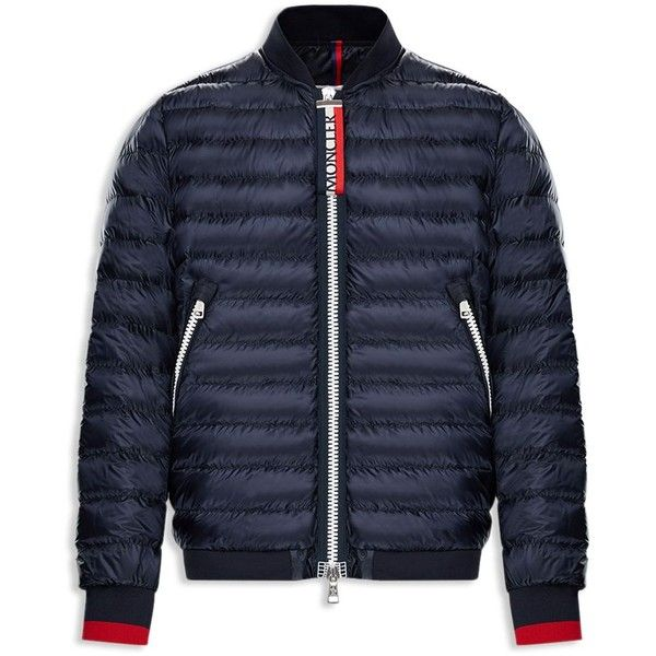 Moncler Daneb Down Jacket ($1,250) ❤ liked on Polyvore featuring men's fashion, men's clothing, men's outerwear, men's jackets, navy, men's sherpa lined jacket, mens navy jacket, mens navy down jacket, mens nylon jacket and mens navy blue jacket