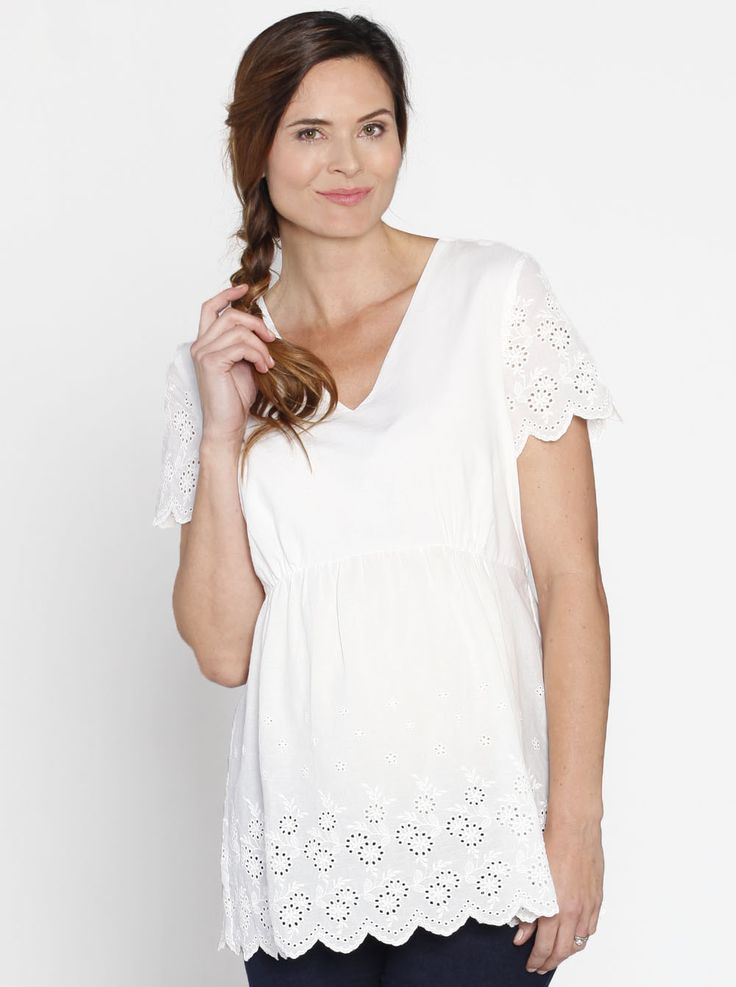Relax Fit Summer Cotton Smock Top in White, $49.95, is designed to drape elegantly over your curves, allowing plenty of room for bub to grow.