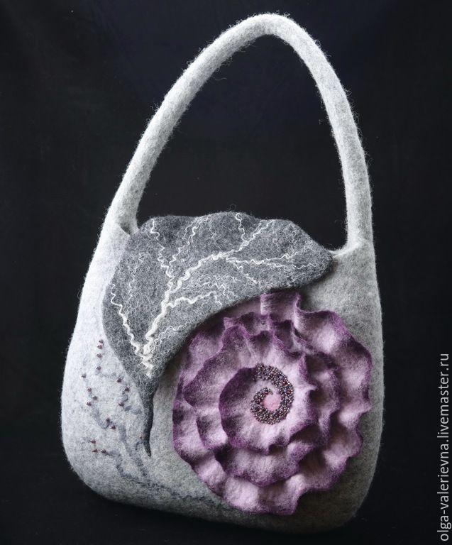 Купить Сумка Вальс. - серый, цветочный, цветы ручной работы, сумка ручной работы ♡ ♡