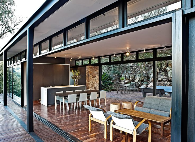 two-sided sliding glass doors modern steel house