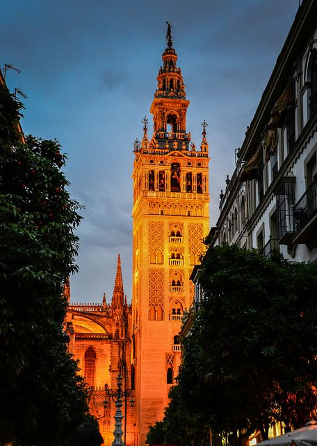 La Giralda Sevilla Cathedral at Night - Seville, Spain