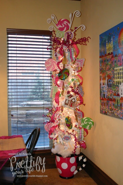 Prettify Your Life: Episode 118: Sweets Tree 2012- LOVE this tree.....note the whimsical cup as a tree stand....this tree would make anyone smile))