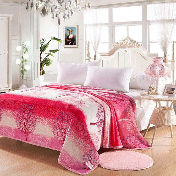 Venda quente de Alta Qualidade de Forma Bonita Rosa Sonho Árvore Padrão Cobertor Macio Para Sofá/Cama/Colchas Cobertor Casa 150x200 cm Tamanho(China)