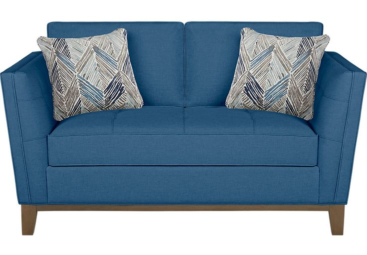 picture of Cindy Crawford Home Park Boulevard Blue Loveseat from  Furniture