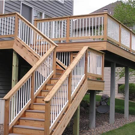 17 best images about deck stair ideas on pinterest logos for Second floor deck