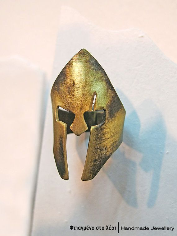 Leonidas helmet handmade ring, Ancient Greek Art, Limited edition Handmade Greek Jewerly, 300 the ring, King Leonidas ring on Etsy, 40,00€