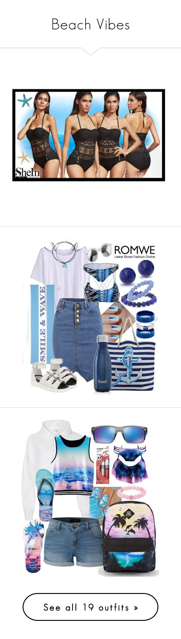 """""""Beach Vibes"""" by thea-bleasdille ❤ liked on Polyvore featuring Draper James, WithChic, Bling Jewelry, Palm Beach Jewelry, S'well, West Coast Jewelry, River Island, Havaianas, LE3NO and Vans"""