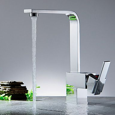 Keukenkranen Modern Waterval Messing(Nikkel gepolijst)