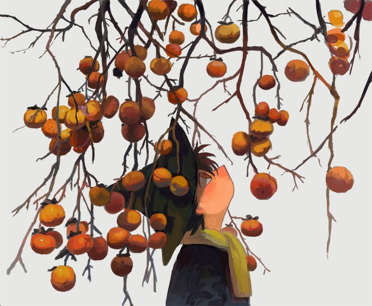 main — 柿の木 写真模写含む