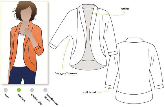 $10.91 - Women's Sewing Pattern - Fiona Knit Top - Sizes 8, 10, 12 - Cardi PDF Sewing Pattern by Style Arc - Downloadable Pattern