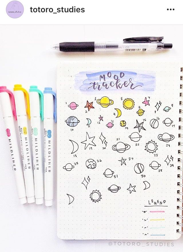BuJo mood tracker by @totoro_studies on Instagram