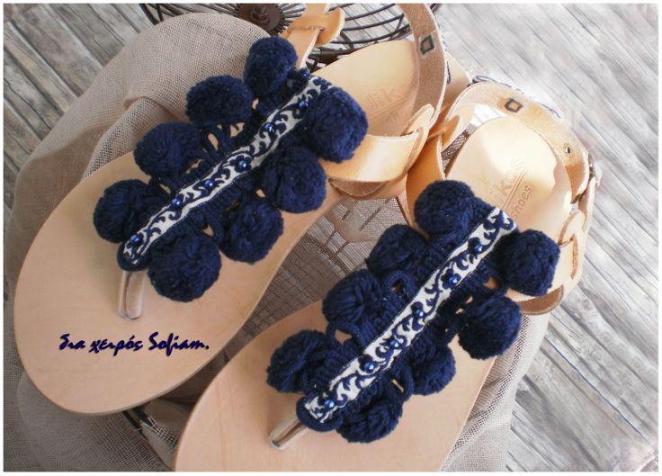 14.013 blue navy pon pon leather sandals