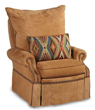 Awesome Leather recliner chair with turquoise nail heads--Crows Nest