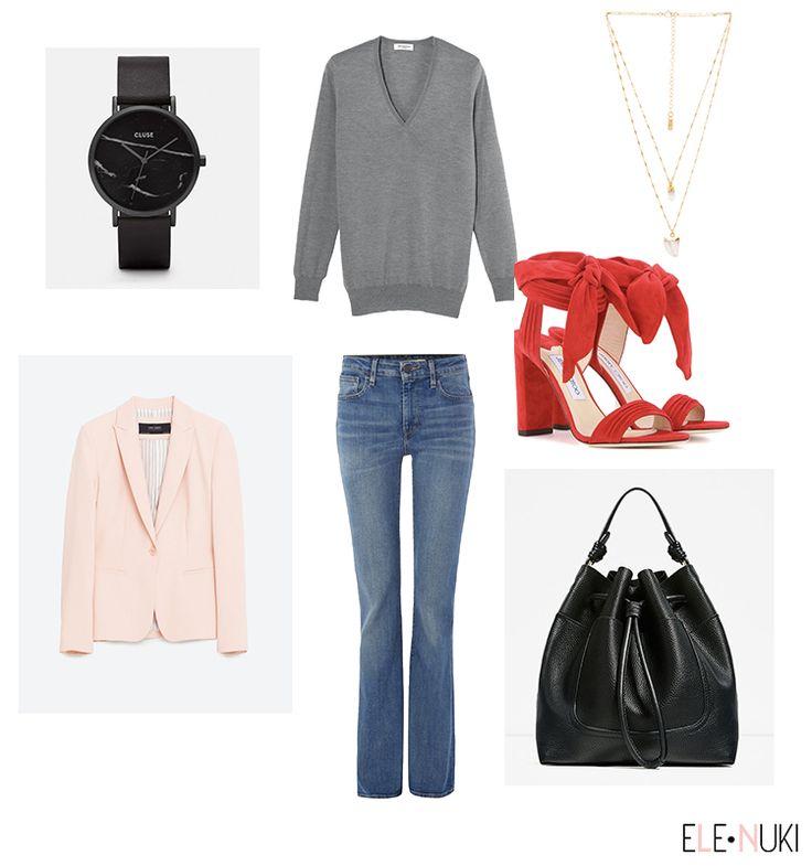 idées de looks pour le bureau jean cluse montre blazer rose pâle collier multi…