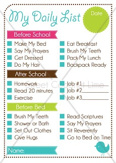 Kid's Daily Routine Check List. I need to do something like this, might tweak it a bit