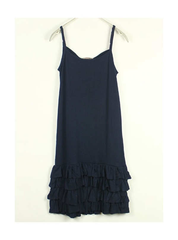 dark blue spaghetti strap sleeveless cascading ruffle dress -