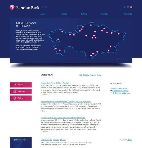 Инвестиционный сайт для Eurasian Bank by Ivan Prikhodtsev, via Behance