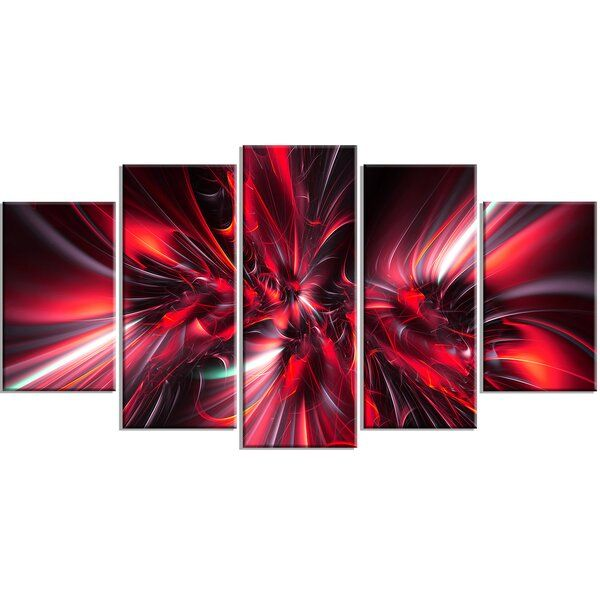 Red Implosion 5 Piece Graphic Art On Wrapped Canvas Set Abstract Canvas Wall Art Art Wall Canvas