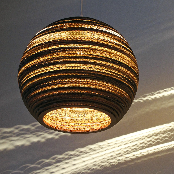 Beautiful Globe Light Fixture Made From Recycled Cardboard. #recycled  #lighting #homedecor