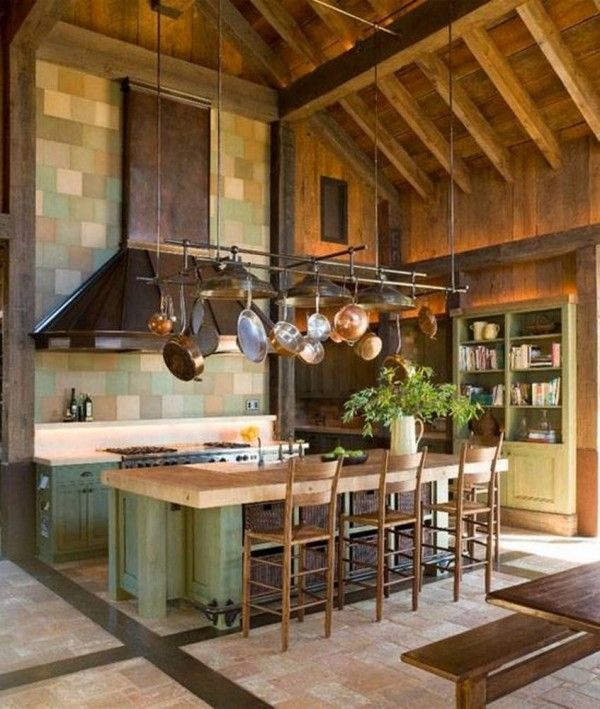 Wooden High Ceiling Designs In Kitchen With Hanging Pot Rack And Copper Hood And Mint Green Cabinets