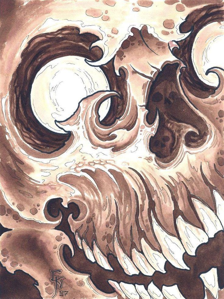 Skull 2 by Christian Nguyen Asian Tattoo Design Canvas Art Print – moodswingsonthenet