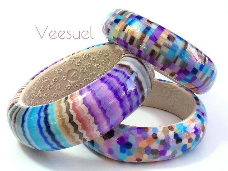 Cape Cod bangles by Veesuel, polymer clay.