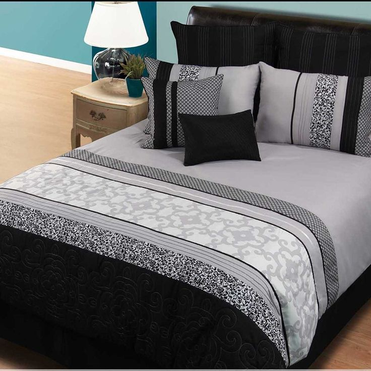 12pc queen bedding set black pattern