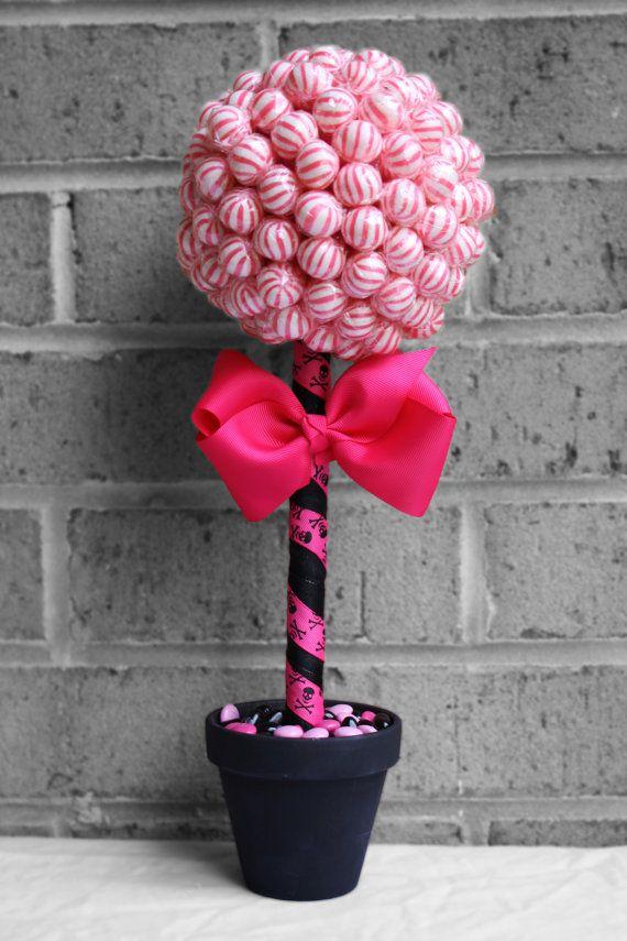 Small lollipop topiary pink black by edibleweddings on