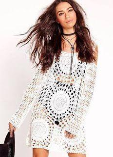 Tina's handicraft : long-sleeve crochet dress