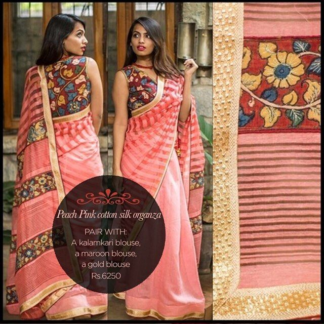 Beautiful Kalamkari touches to a summery peach pink drape! Stay cool and pretty in this sigh worthy drape... Find it on our READY TO SHOP section here: www.houseofblouse.com #houseofblousedotcom #saree #cotton #silk #organza #peach #pink #color #kalamkari #pallu #love #blouse #readytoshop