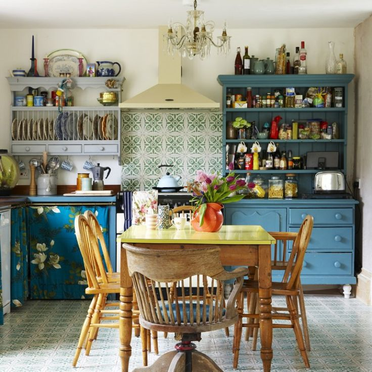 Vintage Style Kitchen By Interior Designer Sarah Mitchenall From Black Parrots Studio Upcycled Units